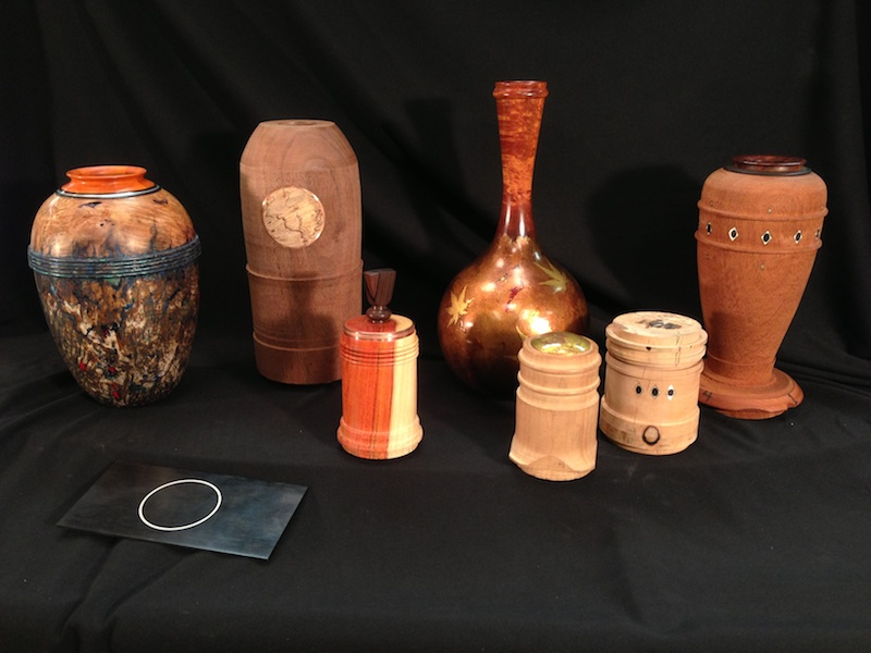 Wood and metal turnings by David Marks, some are demo pieces which are not completed