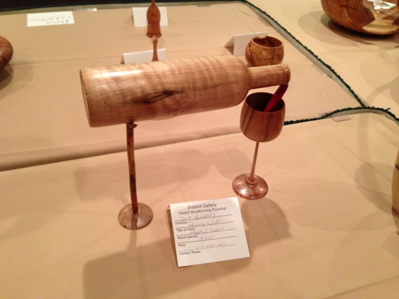 """Dale Gillaspy's very creative wood turning titled """"Pouring Wine"""""""