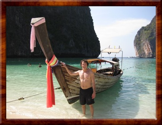 001 DAVID with long boat Phi Phi Island, Thailand