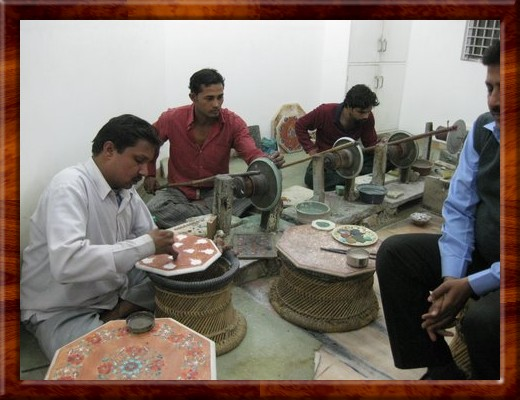 038 Inlay artists keep the tradition alive practicing their art in Agra, India