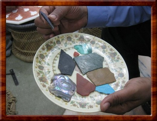 041 Raw materials used for inlay Lapis Lazuli, Malachite, Agate, Carnelian, Abalone shell and Turquoise