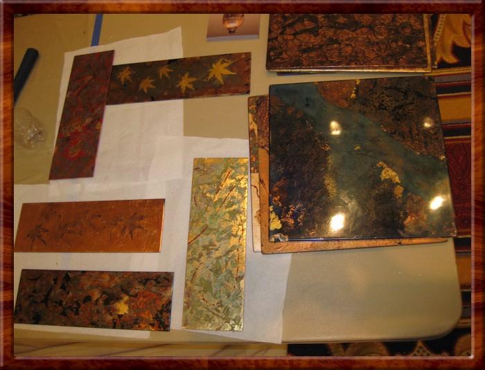 David's gilding & chemical patina samples on display