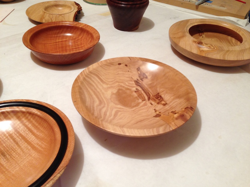 EXTREME CLOSE UP OF VARIETY OF BOWLS CREATED BY 2014 TURNING CLASS