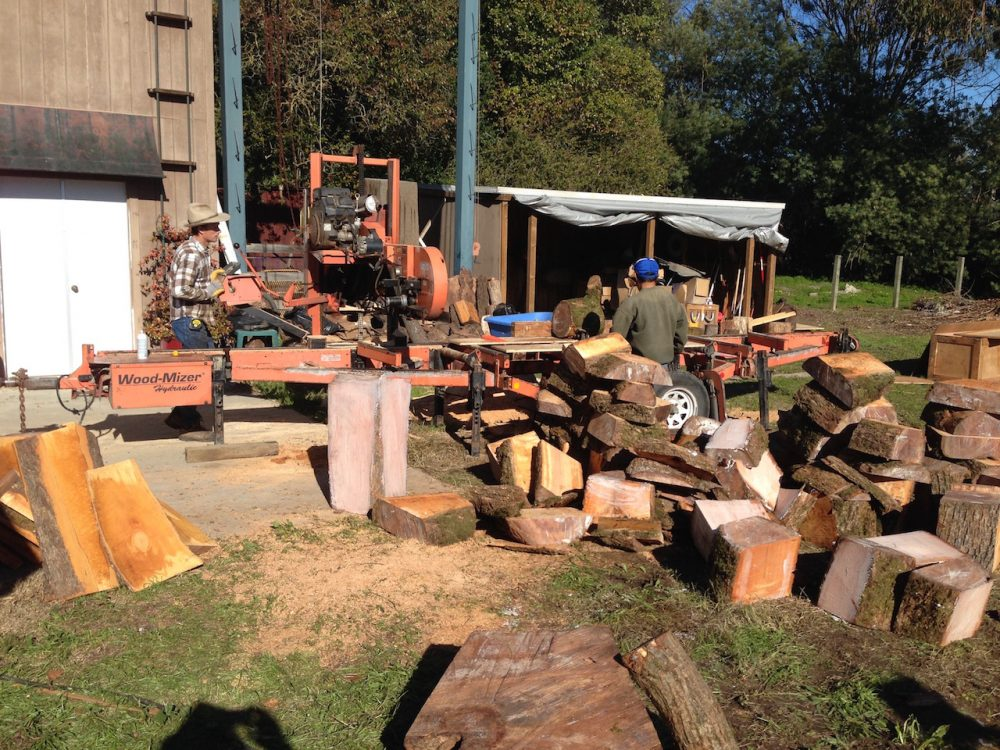PORTABLE SAW MILL WITH WOOD